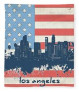 Los Angeles Skyline Flag Fleece Blanket