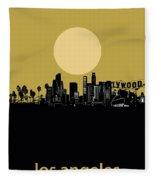 Los Angeles Skyline Minimalism Yellow Fleece Blanket