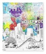 Los Angeles Skyline Panorama Watercolor Fleece Blanket