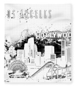 Los Angeles Skyline Panorama White Fleece Blanket