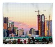 Los Angeles Skyline Sunset - Panorama Fleece Blanket