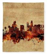 Los Angeles Skyline Vintage Fleece Blanket