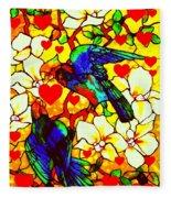 Love Birds In The Love Tree With Hibiscus Fleece Blanket