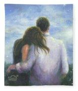 Lovers Looking Forward Brunettes Fleece Blanket