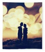 Loving Couple Standing In A Cozy Winter Scenery. Fleece Blanket