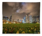 Low Angle Picture Of Downtown Chicago Skyline During Winter Nigh Fleece Blanket
