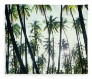 Low Angle View Of Coconut Palm Trees Fleece Blanket