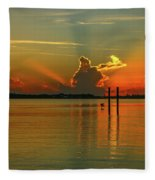 Low Flying Pelican Sunrise Fleece Blanket