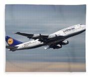 Lufthansa Boeing 747-430 Fleece Blanket