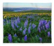 Lupines At Sunrise Fleece Blanket