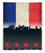 Lyon France City Skyline Flag Fleece Blanket