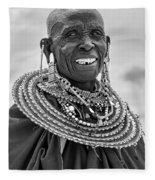 Maasai Woman In Black And White Fleece Blanket