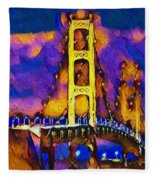 Mackinac At Dusk Fleece Blanket
