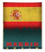 Madrid Spain City Skyline Flag Fleece Blanket
