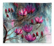 Magnolia At Midnight Fleece Blanket