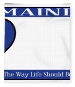Maine State License Plate Fleece Blanket