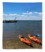 Mallows Bay And Kayaks Fleece Blanket