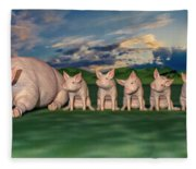 Mamma And Her Little Clones Fleece Blanket