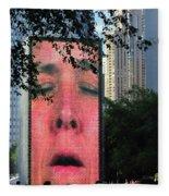 Man Face Crown Fountain Chicago Fleece Blanket