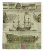 Man Of War Ship Diagram - German - 18th Century Fleece Blanket