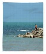 Man On Rocks Looks Out To Ocean From Rocky Beach Jaffna Peninsula Sri Lanka Fleece Blanket