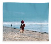 Man Riding On A Brown Galloping Horse On Ayia Erini Beach In Cyp Fleece Blanket