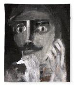 Man With A Handlebar Moustache Fleece Blanket