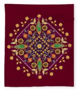 Mandala Flowering Series#2. Terracotta Fleece Blanket