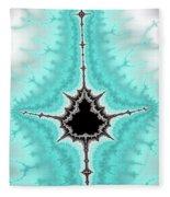 Mandelbrot Fractal Black Aqua White Vertical Fleece Blanket