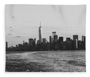 Manhatta, New Jersey And The Statue Of Liberty Fleece Blanket