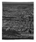 Manhattan Bronx Nyc Aerial Bw Fleece Blanket by Susan Candelario