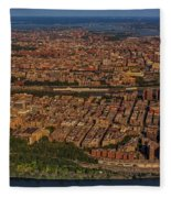 Manhattan Bronx Nyc Aerial Fleece Blanket by Susan Candelario