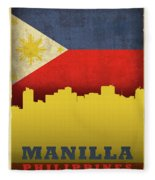 Manilla Philippines City Skyline Flag Fleece Blanket