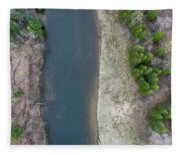 Manistee River Aerial Panorama Fleece Blanket