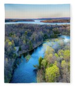 Manistee River And Hodenpyle Dam Aerial Fleece Blanket