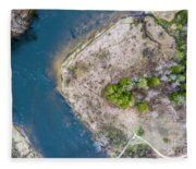 Manistee River Bend Aerial Fleece Blanket