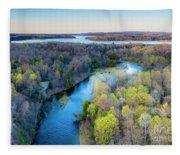 Manistee River Evening Aerial Fleece Blanket