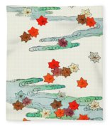 Maple Leaf - Japanese Traditional Pattern Design Fleece Blanket
