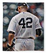 Mariano Rivera  New York Yankees Abstract Art 1 Fleece Blanket