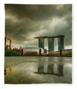 Marina Bay Sands Hotel Fleece Blanket by Chris Cousins