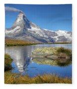Matterhorn From Lake Stelliesee 07, Switzerland Fleece Blanket