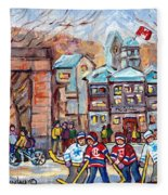 Mcgill University Roddick Gates Original Painting For Sale Hoockey Art C Spandau Canadian City Scene Fleece Blanket