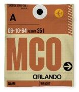 Mco Orlando Luggage Tag I Fleece Blanket
