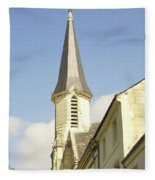 medieval church spire in France Fleece Blanket
