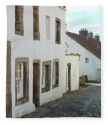 medieval cobbled street in Culross, fife Fleece Blanket