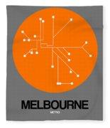 Melbourne Orange Subway Map Fleece Blanket