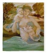 Mermaid With Her Offspring Fleece Blanket