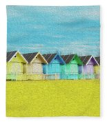 Mersea Island Beach Hut Oil Painting Look 2 Fleece Blanket