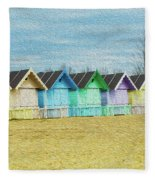 Mersea Island Beach Hut Oil Painting Look 3 Fleece Blanket
