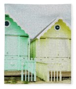 Mersea Island Beach Hut Oil Painting Look 5 Fleece Blanket